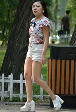 青山公园抓拍的白色短