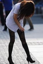 街拍的衬衫长腿个性黑