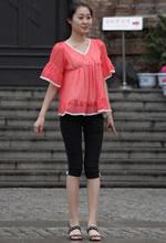 街拍粉色凉衫五分紧身