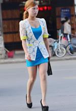 街拍的镂空衫紧身裙肉