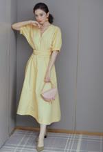 古力娜扎鹅黄色复古裙
