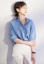 练束梅蓝衫白裤写真